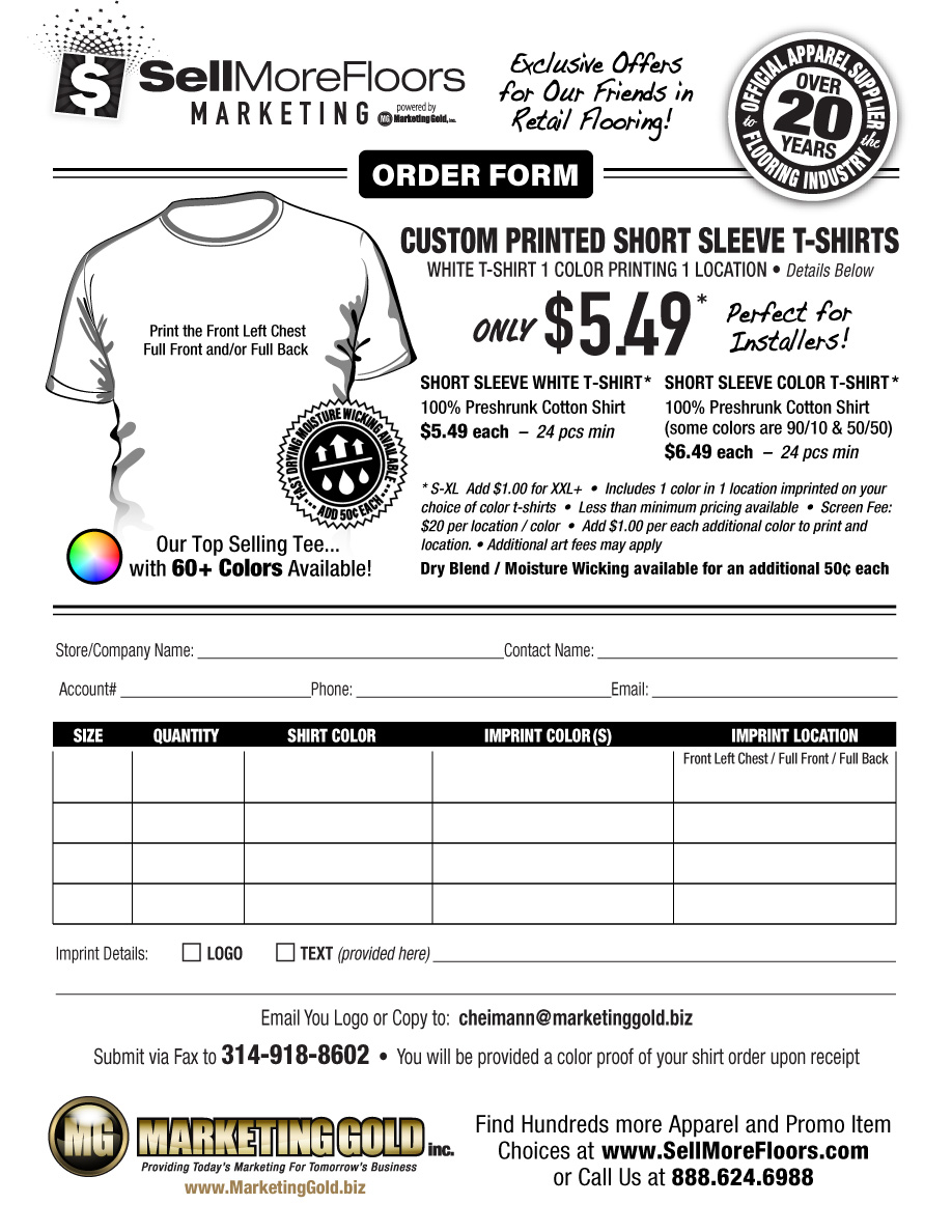 Custom T-Shirt Special | SellMoreFloors