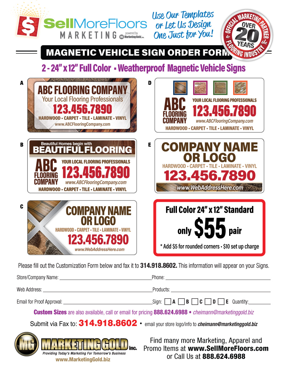 Magnetic Vehicle Signs SellMoreFloors - Out of order sign pdf