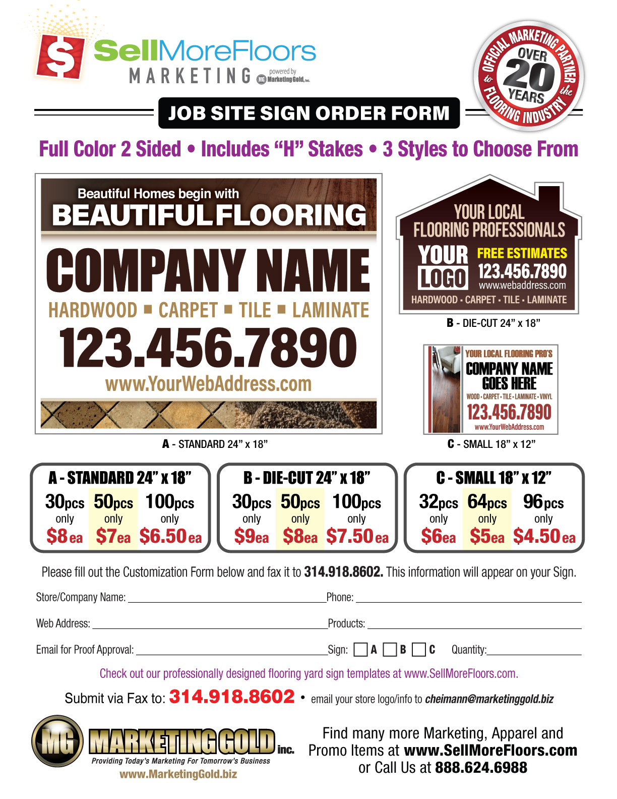 Job site signs sellmorefloors downloadable pdf order form falaconquin